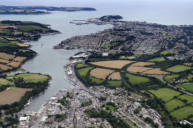 Above Penryn looking towards Falmouth - Cornwall aerial image