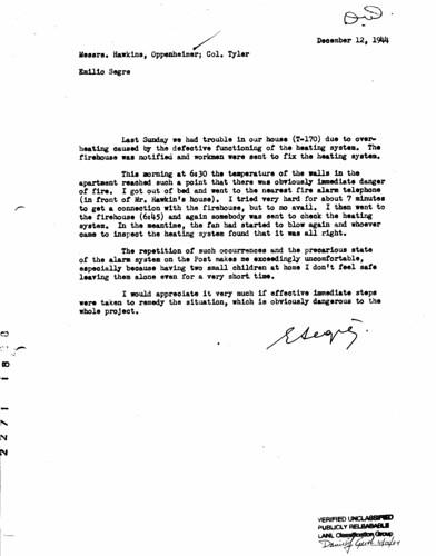 Nobel Laureate Emilio Segre files a complain about his heating system December 12 1944