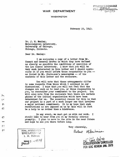 Oppenheimer to John Manley February 25 1943
