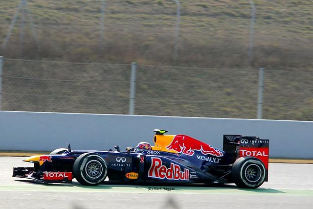 Mark Webber in his Red Bull Racing F1 car in Winter Testing, Circuit de Catalunya, March 2012