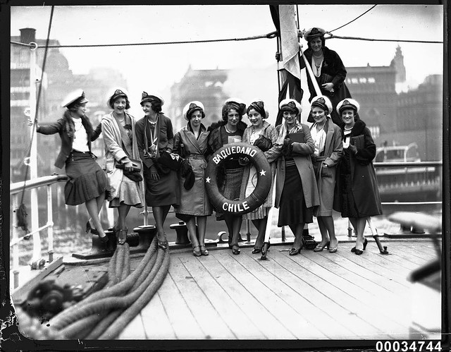 Ten women on deck of the Chilean naval vessel GENERAL BAQUEDANO in Circular Quay, July 1931