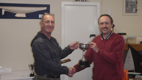 Jeff Coffin receiving Sprint Race Trophy for 1st place | by PLSC (Panmure Lagoon Sailing Club)