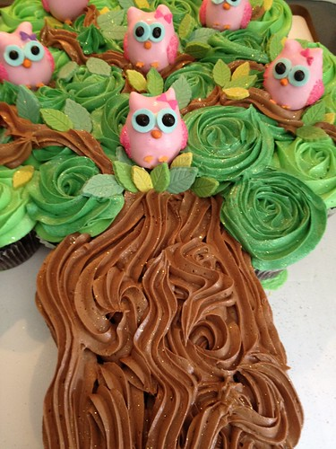 Cupcake cake with owl cakepops | by sugartreebakeshoppe