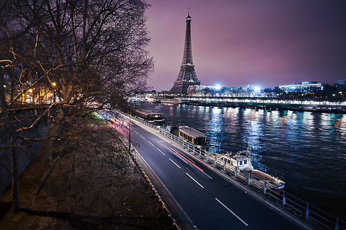 paris toureiffel quais sunset