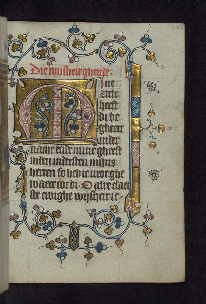 Illuminated Manuscript  Doffinnes Hours  Floral Decoration