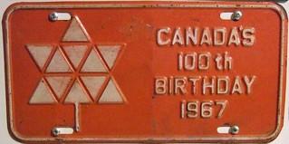 NEW BRUNSWICK 1967 ---OPTIONAL FRONT PLATE ---#3 100th BIRTHDAY