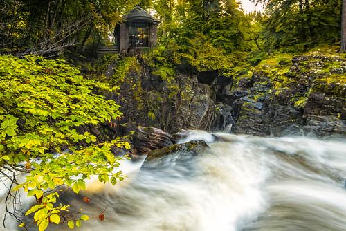 scotland unitedkingdom gb ossians hall folly autumn colours leaves trees woods yellow gold green water waterfall river braan rocks le long exposure nd grad polariser lee filter nikon