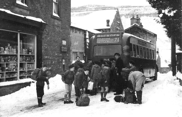 West Yorkshire Bristol LL5G  JWU 87X Boy Scots in snow at Kettlewell Post Office in the Yorkshire Dales
