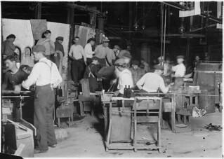 Night scene in Cumberland Glass Works. Small boy in middle distance of photo. Bridgeton, N.J., November 1909