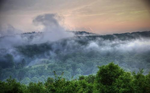 sunset foothills fog hills