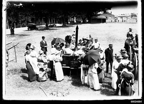Field kitchen surrounded by civilians and soldiers probably at Victoria Barracks | by Australian National Maritime Museum on The Commons