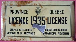 QUEBEC 1935 ---HOTEL LICENSE PLATE
