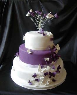 purple butterfly wedding cake | by caketasia