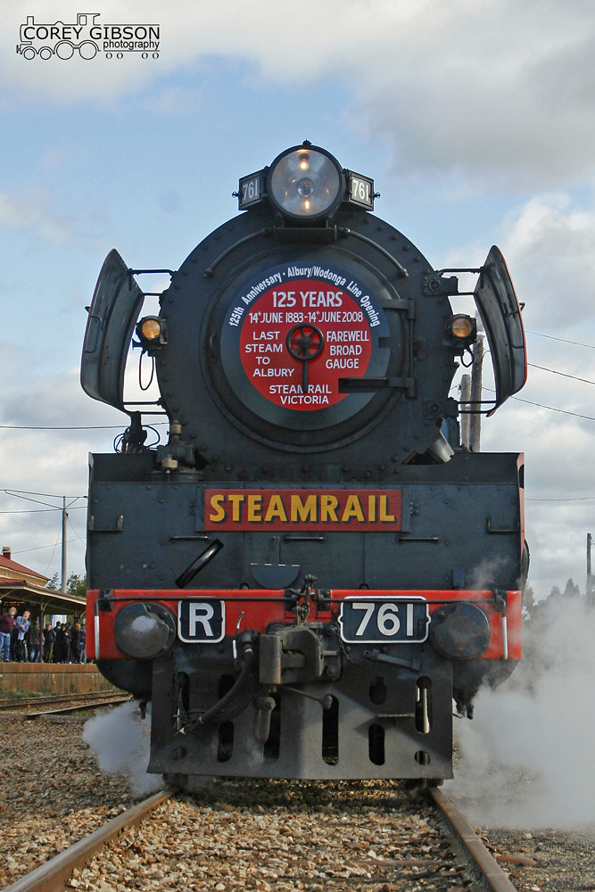 Locomotive R761 with the last broad gauge steam to Albury by Corey Gibson