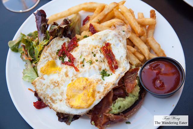 Hangover Remedy - smashed avocado, bacon sundried tomatoes, fried egg, ciabatta bread