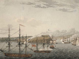 Attack on Fort Oswego, Lake Ontario, N. America. May 6th, 1814, Noon / Attaque contre le fort Oswego, lac Ontario, Amérique du Nord, le 6 mai 1814, à midi