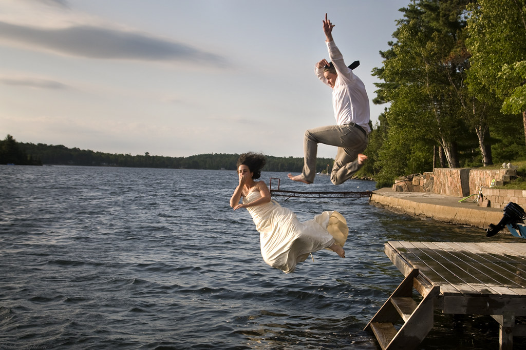 203/366--Ben and Mel's Wedding Day Running Jump into Lac Clair