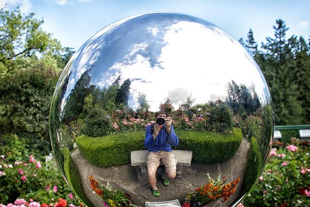 Me, a globe, and a garden