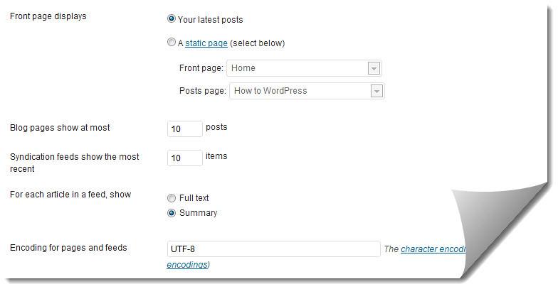 Set up WordPress reading