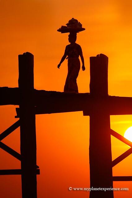Sunset woman - U Bein bridge, Myanmar