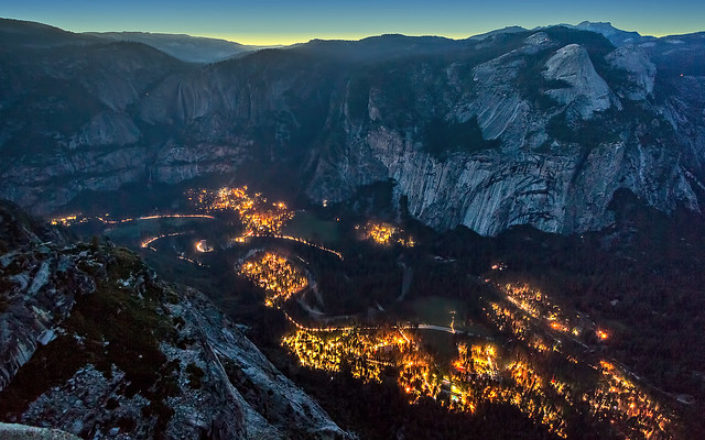 Yosemite Valley as the Lights Come On