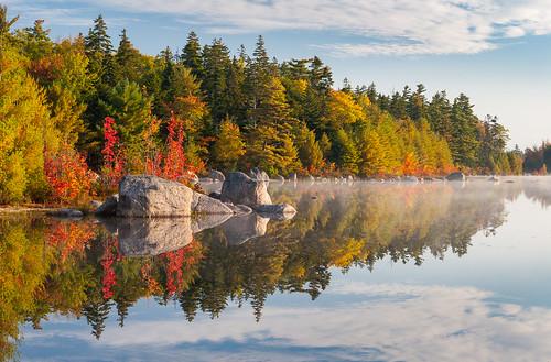 mickeyhillprovincialpark lambslake autumn lake novascotia canada