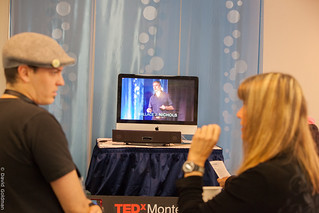 Lynne Cox and guest watching J Nichols on Livestream   by TEDxMonterey