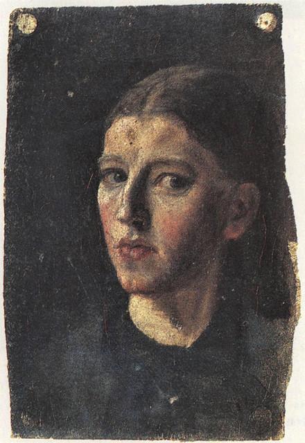 Ancher,  Anna (Danish,1859-1935) -   Self Portrait in a Mirror  - 1877