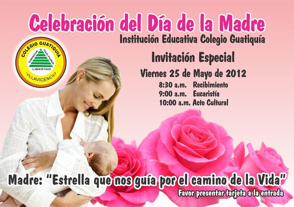Tarjeta De Invitación Día De La Madre Colegio Guatiquia