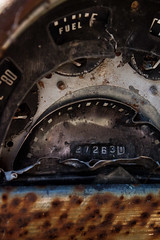 Gauges of Abandoned Car in Shelby Farms Park