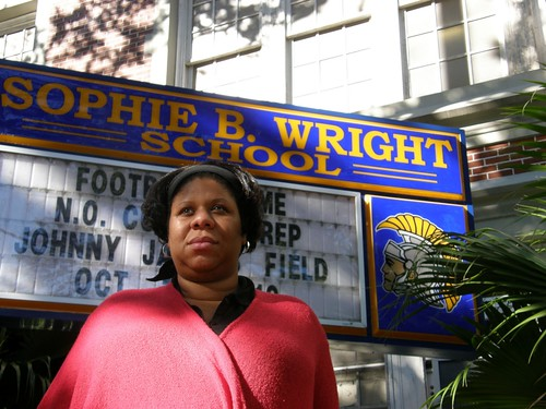 Ashana Bigard in front of Sophie B. Wright Charter School.   by TheLensNola