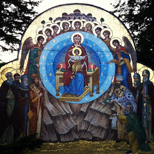 Mosaic of Christ and the Theotokos at the monastery. | by justjamey