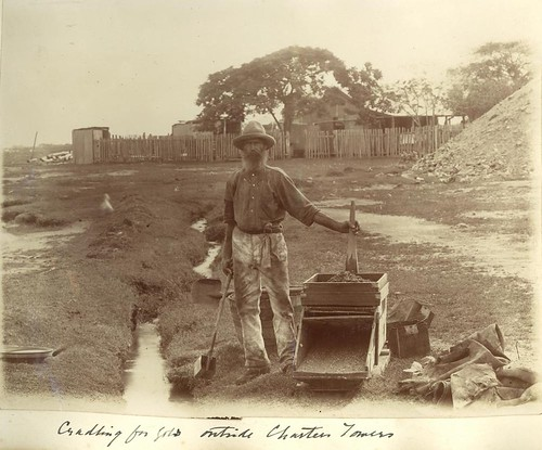 gold goldmining miners mining statelibraryofqueensland slq queensland 1900s goldcradle palingfence dirtpile shovel barrel stream metalcontainers tree house homestead beard hat moustache belt cradlingforgold charterstowers goldpan man sepia