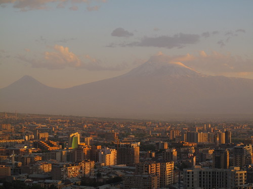 Setting sun over Yerevan and Mount Ararat, Armenia | by ambabheg
