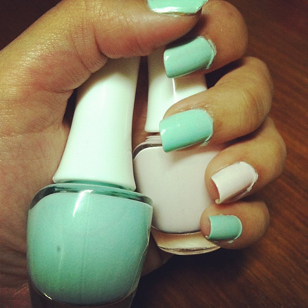 Cute pastel colors nail polish in mint green and super bab…   Flickr