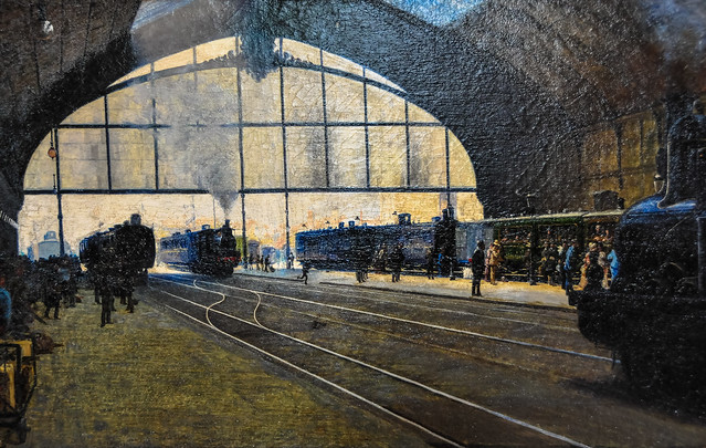 Angelo Morbelli - Milan Central Train Station at Modern Art Gallery Milan Italy