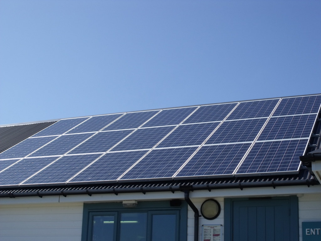 Portland Bill - solar panels above shop and ice cream building