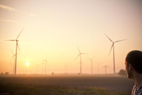 sunset sun energy electricity sonne windturbine tagebau braunkohle opencastmining