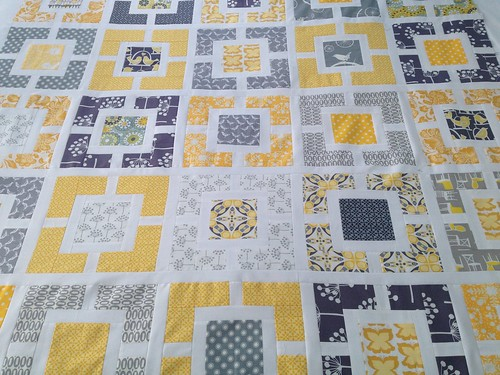 Grey and Yellow quilt in progress - coming together