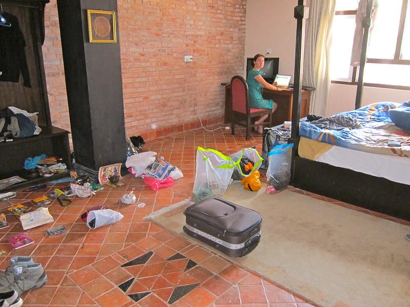 Packing to leave. Kathmandu, Nepal