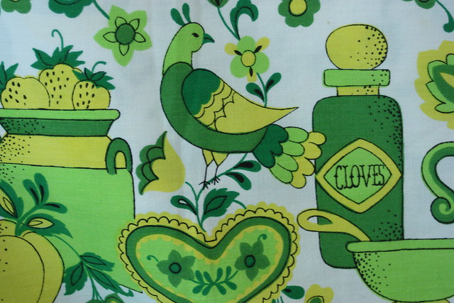 vintage round tablecloth lime green yellow