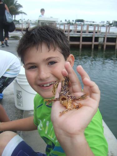 Josh with a sargassum frogfish.