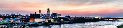 sunset panorama skyline nebraska omaha hdr