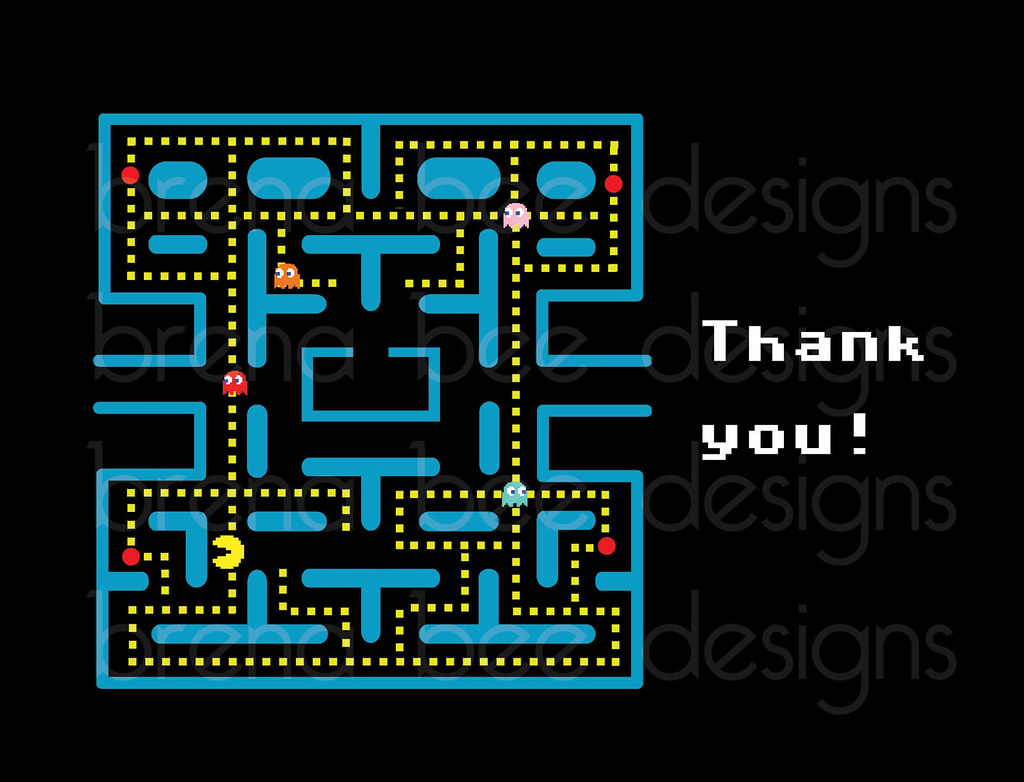 Awesome Pacman Greeting Thank You Cards Custom Printable Thank Funny Birthday Cards Online Hetedamsfinfo