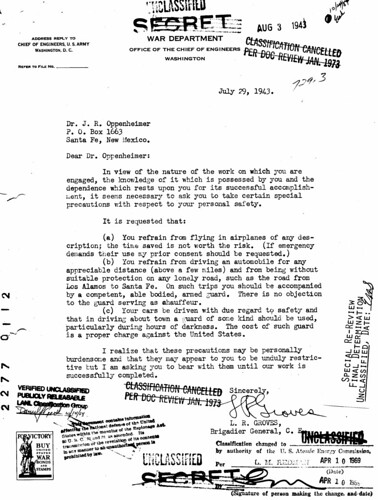 Oppenheimer's Personal Security, July 29, 1943
