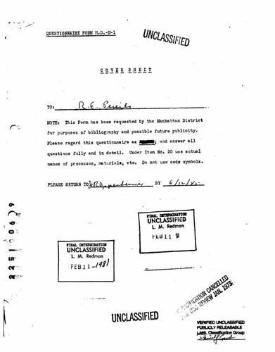 Rudolf Peierls questionnaire form June 12 1945