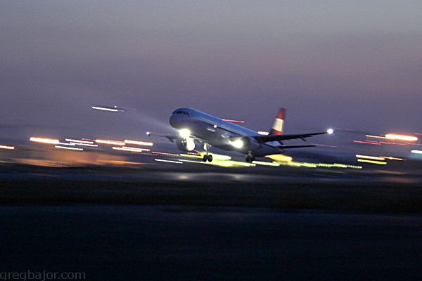 Commercial jet taking off