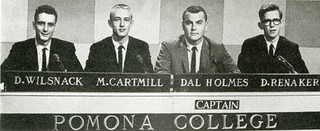 "The ""fabulous foursome"" of Richard Wilsnack '64, Matthew Cartmill '64, Dallas Holmes '62 and David Renaker '63 appeared on the televised General Electric College Bowl quiz program, and retired as five-time champions"
