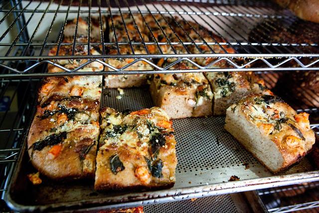 Sheet pan of Open faced tiger shrimp bread