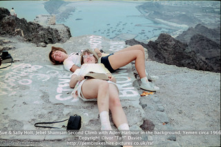 Sue & Sally Holt, Jebel Shamsan Second Climb with Aden Harbour in the background. Yemen circa 1966